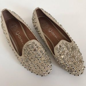 JEFFREY CAMPBELL Nude Studded Elegant Loafers - 8